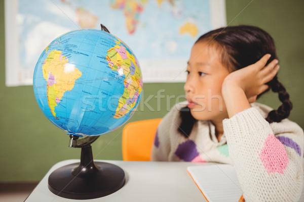 Stock foto: Mädchen · Studium · Welt · Schule · Karte · Kind