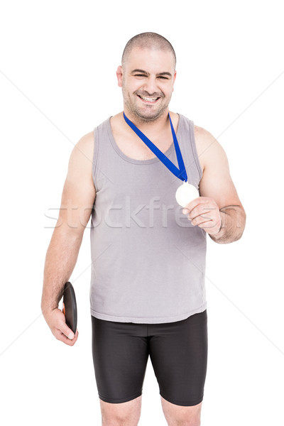 Portré atléta nyerő aranyérem fehér férfi Stock fotó © wavebreak_media