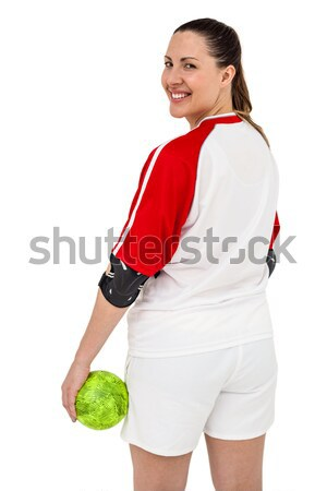 Sportswoman holding a ball Stock photo © wavebreak_media