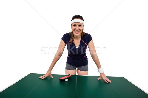 Gelukkig vrouwelijke atleet tabel witte Stockfoto © wavebreak_media