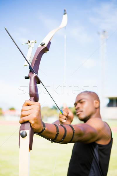Atleet oefenen boogschieten stadion sport zwarte Stockfoto © wavebreak_media