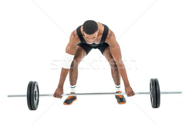 Культурист штанга весов белый Сток-фото © wavebreak_media