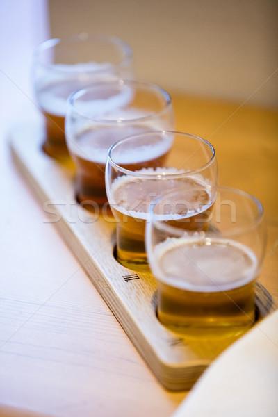 Közelkép sör szemüveg pult étterem Stock fotó © wavebreak_media
