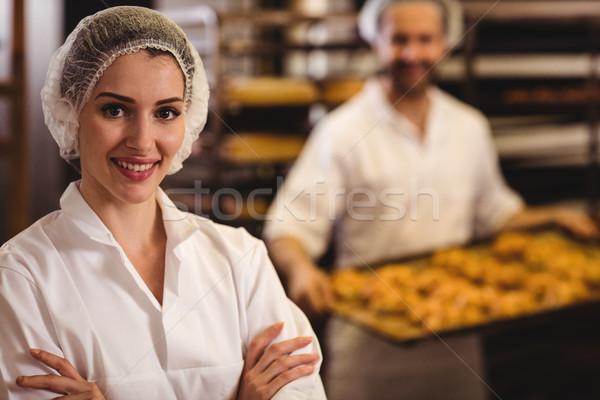 портрет женщины Бейкер улыбаясь хлебобулочные магазин Сток-фото © wavebreak_media