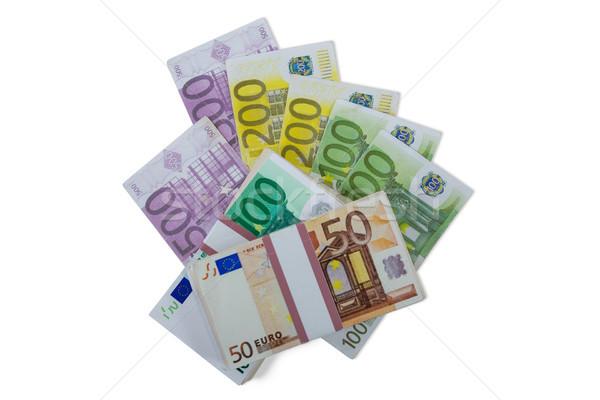 Euro bankjegyek pénz fehér közelkép üzlet Stock fotó © wavebreak_media