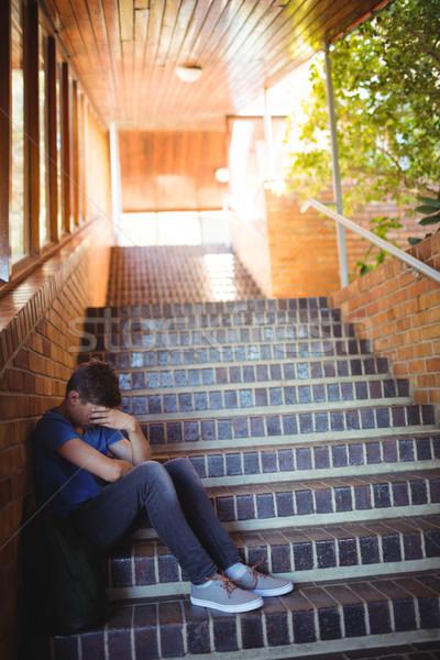 печально школьник сидят только лестница школы Сток-фото © wavebreak_media