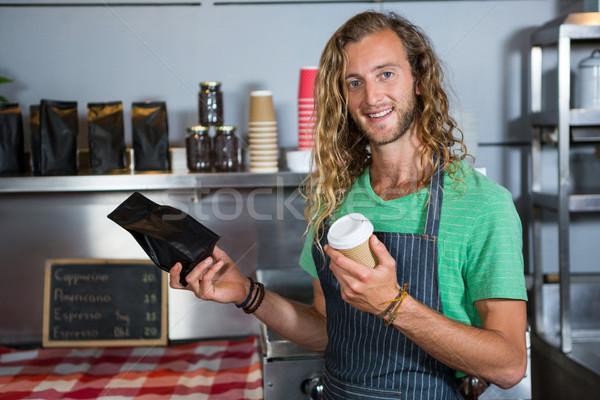 Retrato masculino pessoal xícara de café pacote Foto stock © wavebreak_media