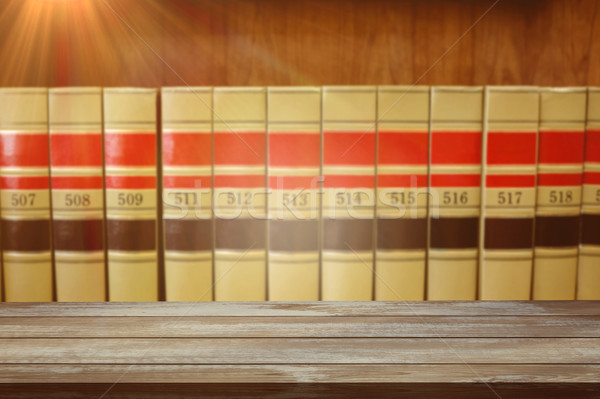 Stock photo: Surface of wooden plank against close up of big books