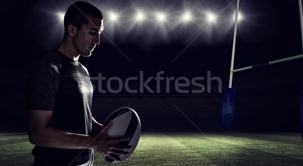 Imagem rugby jogador pensando Foto stock © wavebreak_media