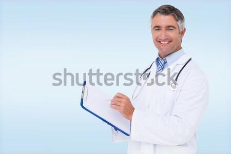 Gülen umutlu kadın doktor silah beyaz Stok fotoğraf © wavebreak_media