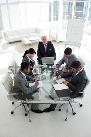 Mutlu iş adamları eğitim satış rapor Stok fotoğraf © wavebreak_media