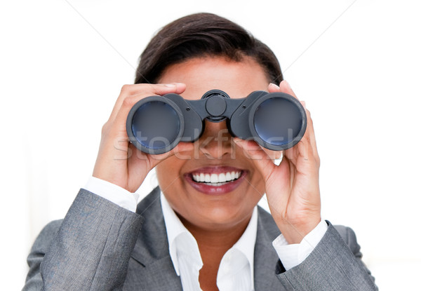 Zakenvrouw naar verrekijker business gelukkig achtergrond Stockfoto © wavebreak_media