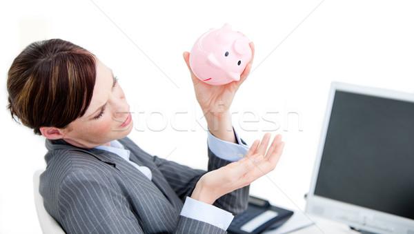 Zdenerwowany kobieta interesu skarbonka biuro przestrzeni Zdjęcia stock © wavebreak_media