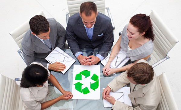 High angle of business team looking at a recycling symbol Stock photo © wavebreak_media