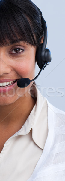 クローズアップ 民族 女性実業家 ヘッド 笑みを浮かべて オフィス ストックフォト © wavebreak_media