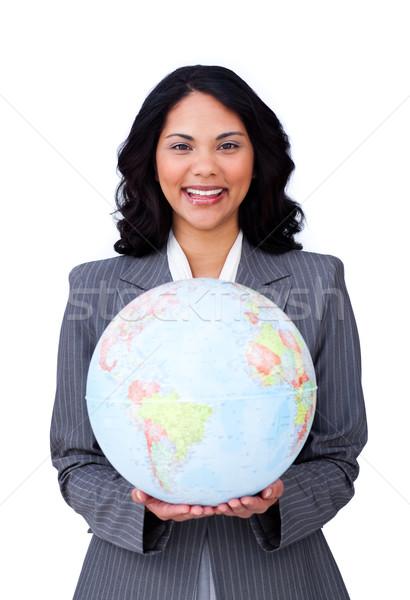 小さな 女性実業家 笑みを浮かべて グローバルなビジネス 白 ビジネス ストックフォト © wavebreak_media