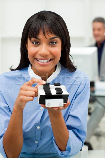 üzletasszony tart névjegy iroda könyv kapcsolat Stock fotó © wavebreak_media