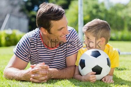 Uważny syn ojca piłka nożna piłka Zdjęcia stock © wavebreak_media