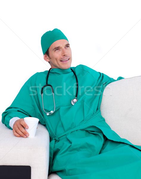 Entspannt Chirurg trinken Kaffee Personal Zimmer Stock foto © wavebreak_media