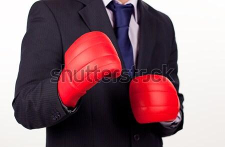 Mulher de negócios luvas de boxe jovem atraente mulher cara Foto stock © wavebreak_media