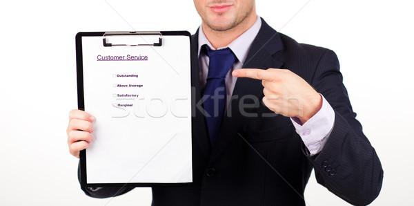 Foto stock: Empresario · servicio · al · cliente · informe · jóvenes · papel · manos