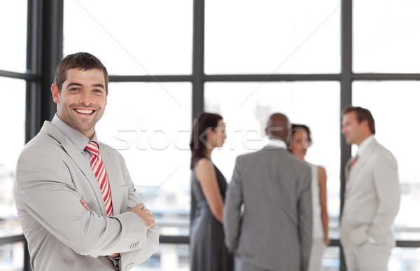 Charyzmatyczny biznesmen zespołu biuro kobieta telefonu Zdjęcia stock © wavebreak_media