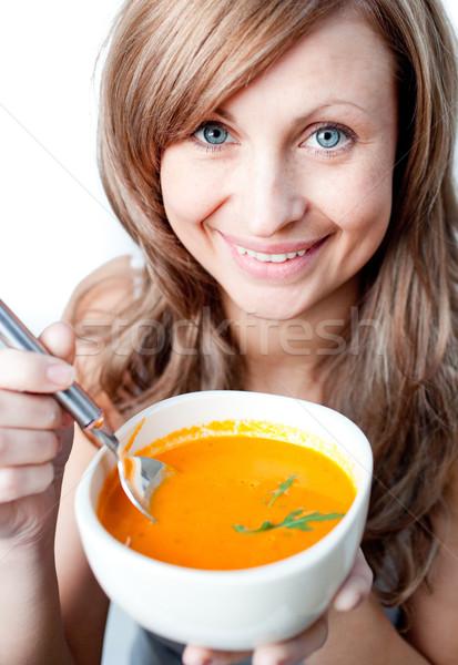 Pozitif kadın çorba çanak beyaz Stok fotoğraf © wavebreak_media