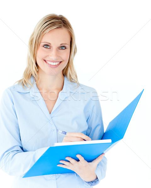 Charmant zakenvrouw map glimlachend camera Stockfoto © wavebreak_media