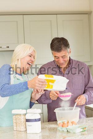 Genç anne kız kahvaltı mutfak gülümseme Stok fotoğraf © wavebreak_media