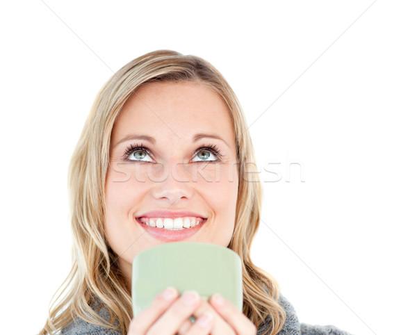 Stockfoto: Kaukasisch · vrouw · genieten · koffie · witte · glimlach