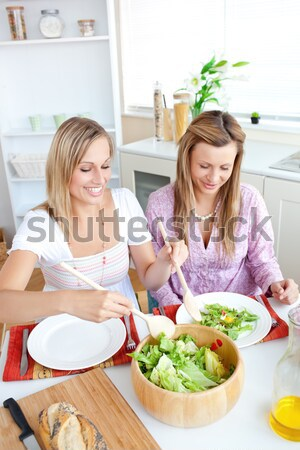 Adorable woman serving salad to her friend sitting at a table during lunchtime Stock photo © wavebreak_media
