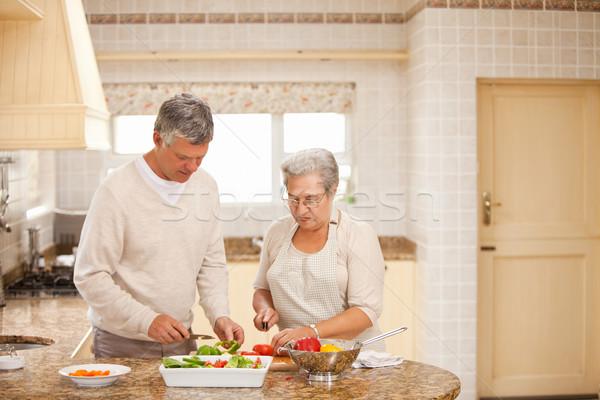 Idős pár főzés konyha nő szeretet otthon Stock fotó © wavebreak_media