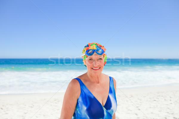 Kıdemli kadın mayo plaj kız gülümseme Stok fotoğraf © wavebreak_media