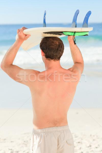 красивый мужчина доска для серфинга воды спорт природы морем Сток-фото © wavebreak_media