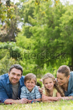 Famille couché parc fille amour homme Photo stock © wavebreak_media