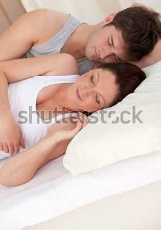 Vrouw niet snurken slaapkamer huis gezicht Stockfoto © wavebreak_media