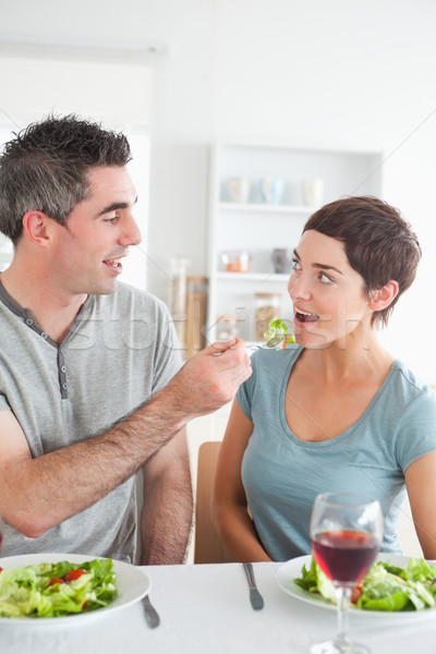 Człowiek brunetka żona jadalnia miłości Zdjęcia stock © wavebreak_media