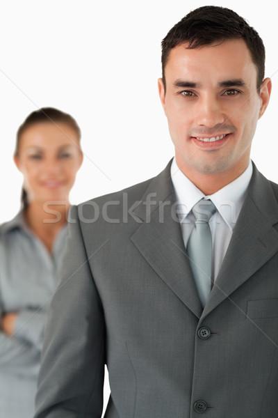 улыбаясь бизнесмен коллега за белый Сток-фото © wavebreak_media