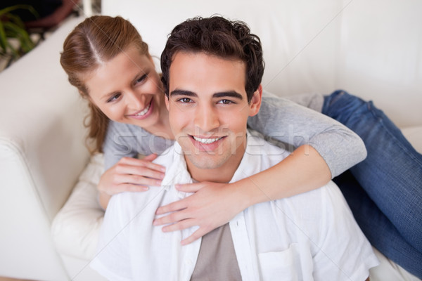 Uśmiechnięty człowiek sympatia sofa miłości szczęśliwy Zdjęcia stock © wavebreak_media