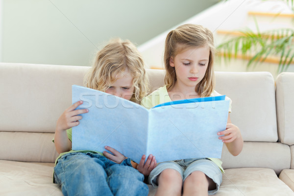 Testvérek olvas magazin együtt kanapé mosoly Stock fotó © wavebreak_media