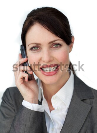 Side view of listening call center agent with headset on against a white background Stock photo © wavebreak_media