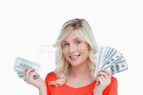 Mulher dois fãs dólar banco Foto stock © wavebreak_media
