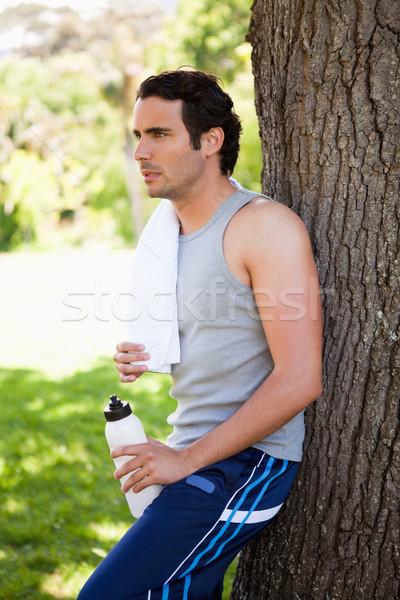 человека белый полотенце плечо спортивных Сток-фото © wavebreak_media