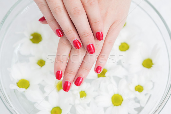 Ted painted finger nails and bowl of flowers Stock photo © wavebreak_media
