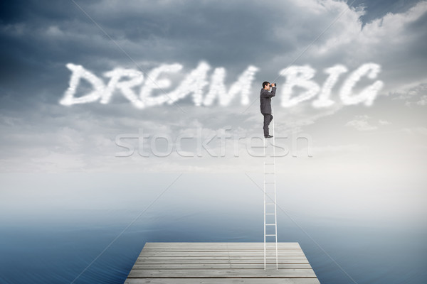 Dream big against cloudy sky over ocean Stock photo © wavebreak_media