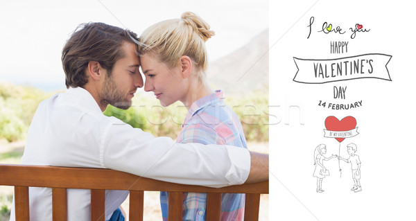 Composite image of cute couple sitting on bench together smiling Stock photo © wavebreak_media