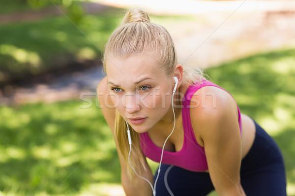 Cansado bela mulher esportes imagens parque belo Foto stock © wavebreak_media