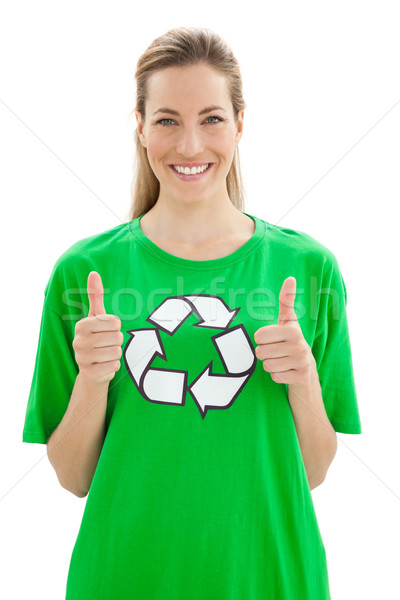 Woman in recycling symbol t-shirt gesturing thumbs up Stock photo © wavebreak_media