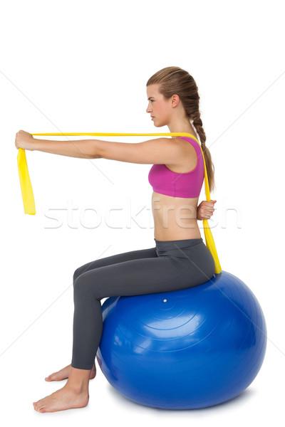 Geschikt vrouw fitness bal Stockfoto © wavebreak_media
