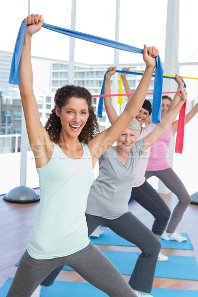 Сток-фото: класс · осуществлять · йога · счастливым · женщины